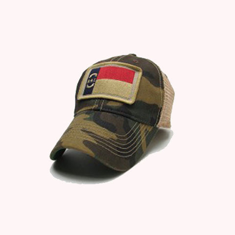 "State of North Carolina Army Camo Trucker ""State Flag"" Adjustable Hat"