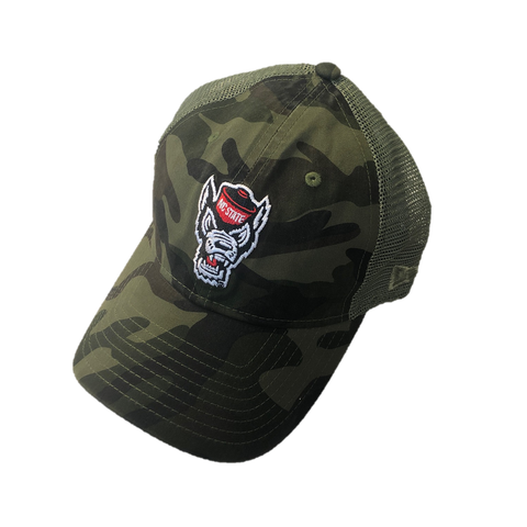 NC State Wolfpack New Era Youth Camo Wolfhead Trucker Hat