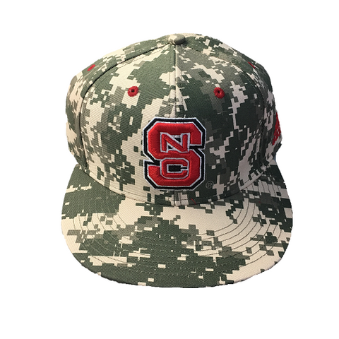 "NC State Wolfpack Camo Adidas® ""On-Field"" Baseball Performance Fitted Flatbill Hat"