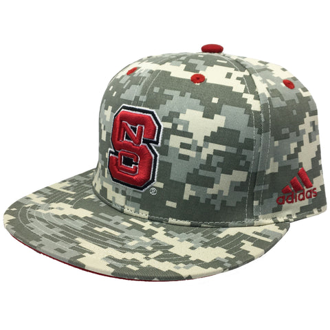 "NC State Wolfpack Digital Camo Adidas® ""On-Field"" Baseball Performance Fitted Flatbill Hat"