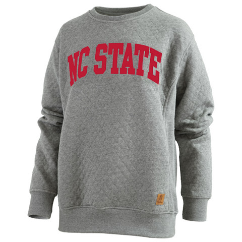 NC State Wolfpack Women's Heathered Grey Canyon Quilted Crewneck Sweatshirt