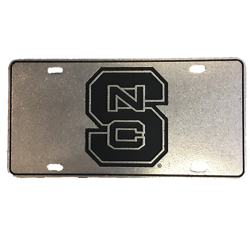 NC State Wolfpack Black Block S Pewter License Plate