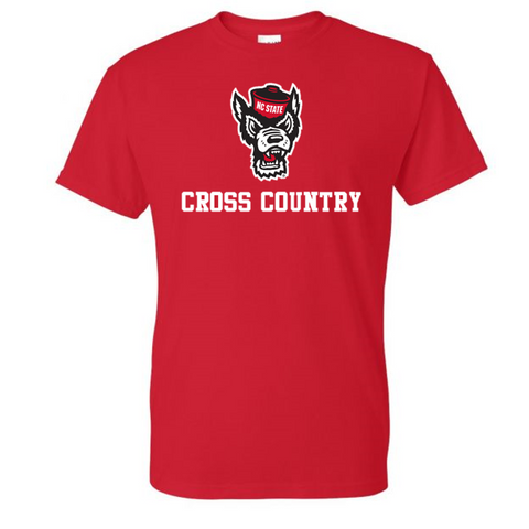 NC State Wolfpack Red Wolfhead Cross Country T-Shirt
