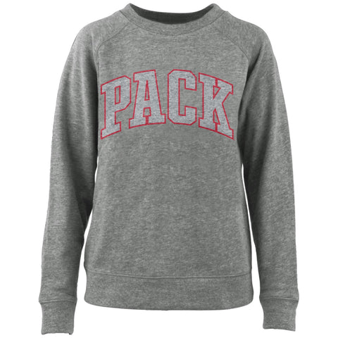 NC State Wolfpack Heathered Grey Cecilia French Terry Crewneck Sweatshirt