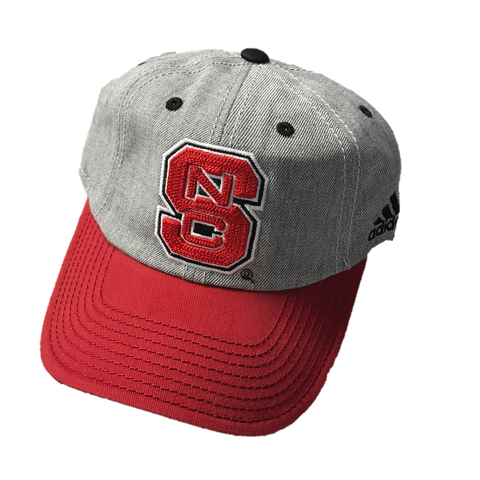 NC State Wolfpack Adidas Youth Heathered Grey Chainstitch Slouch Hat