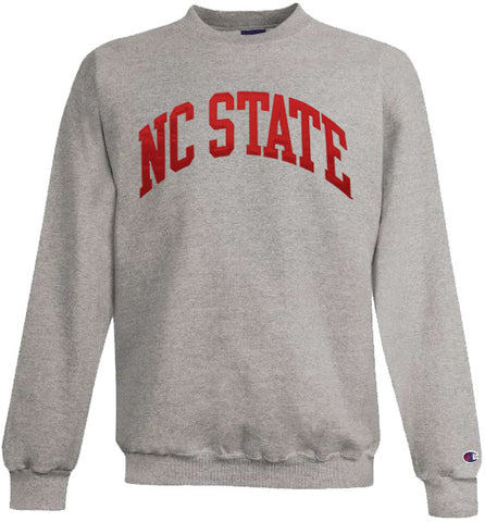 NC State Wolfpack Champion Heather Grey Powerblend Arched NC State Crewneck Sweatshirt