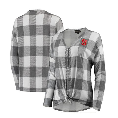 NC State Wolfpack Women's Grey and white Check Your Facts Button Down Tie Top