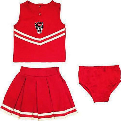 NC State Wolfpack Red Toddler Wolfhead Cheerleading Outfit w/ Bloomers
