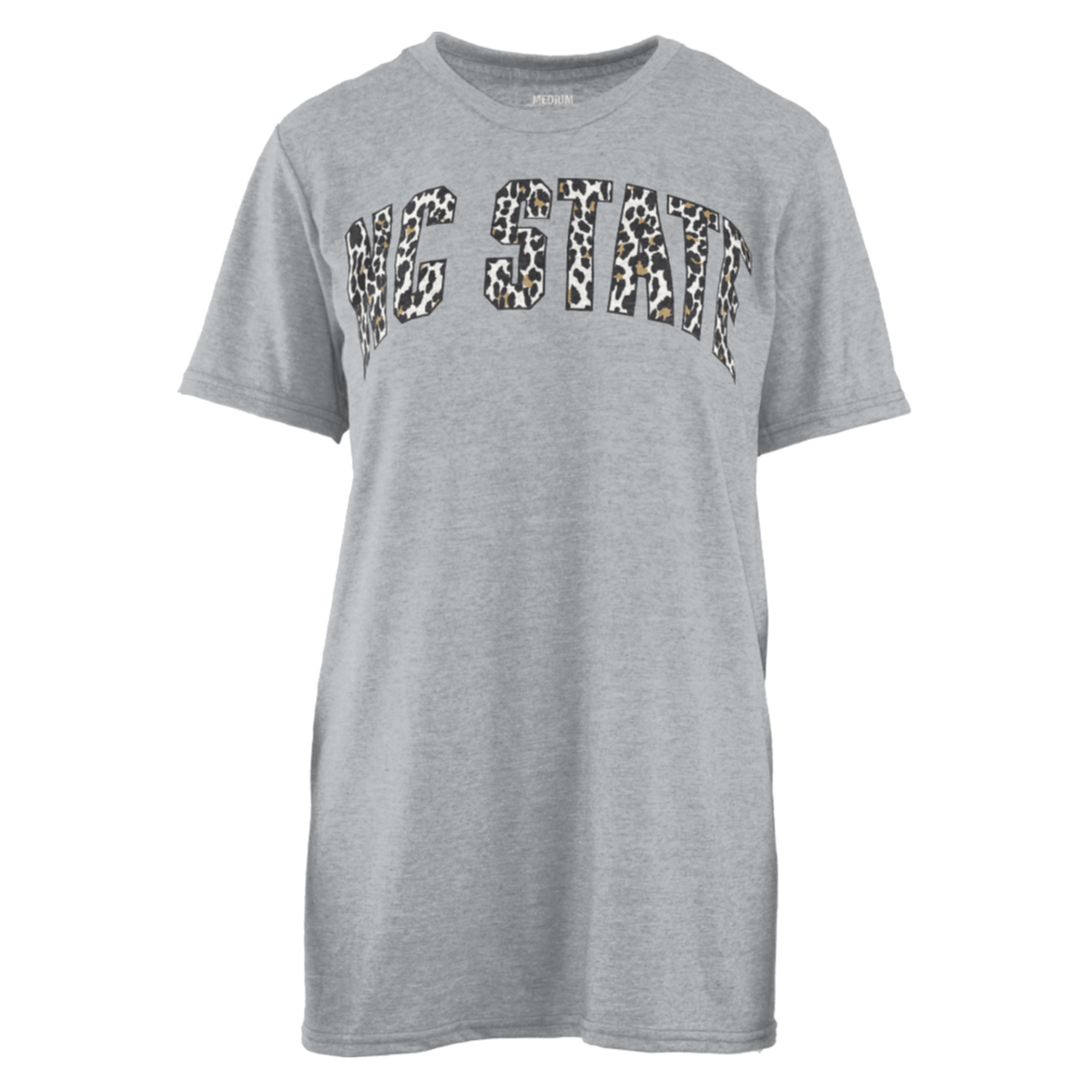 NC State Wolfpack Women's Heather Grey Copper Cheetah Melange T-Shirt