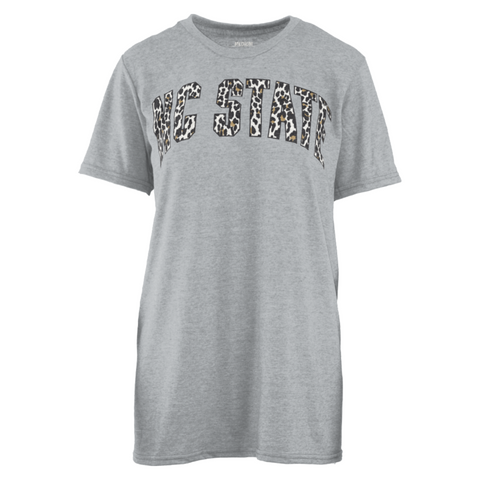 NC State Wolfpack Women's Heathered Grey Copper Cheetah Melange T-Shirt