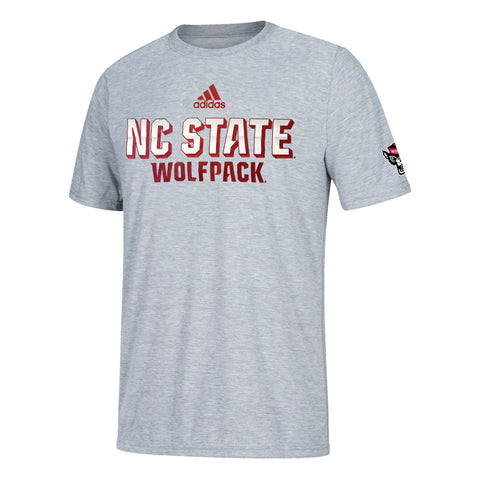 NC State Wolfpack Adidas Grey Football Sideline Chromed Up Amplifier T-Shirt