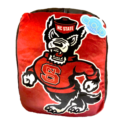 "NC State Wolfpack 15"" Red and Black Strutting Wolf Travel Cloud Pillow"