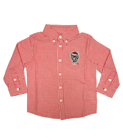 NC State Wolfpack Youth Red and White Cole Wolfhead Woven Dress Shirt