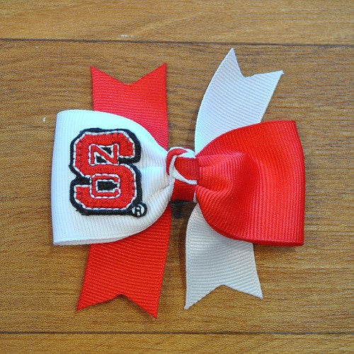 NC State Classic Color Block Mini Star Bow