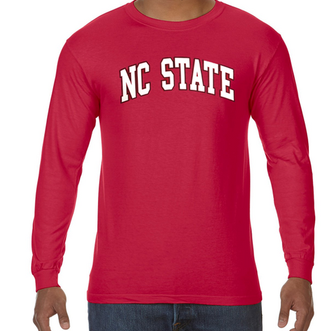 NC State Wolfpack Red NC State Arch Comfort Colors Long Sleeve T-Shirt
