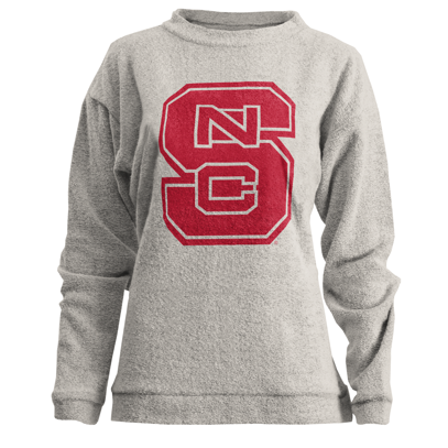 NC State Wolfpack Women's Oatmeal Comfy Terry Crewneck