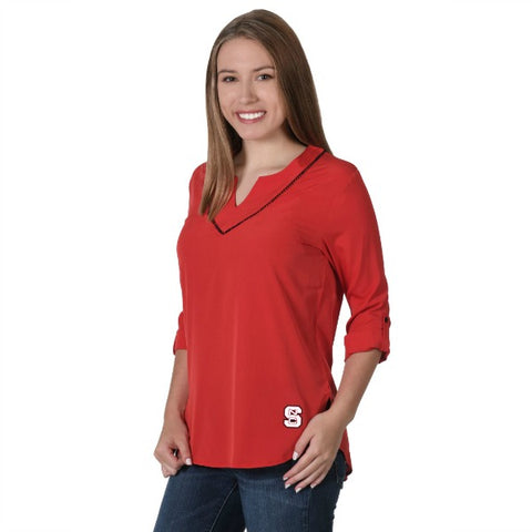 NC State Wolfpack Women's Red Block S Stitch Neck Tunic