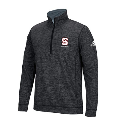 NC State Wolfpack Adidas Black Heathered 1/4 Zip Basketball Jacket