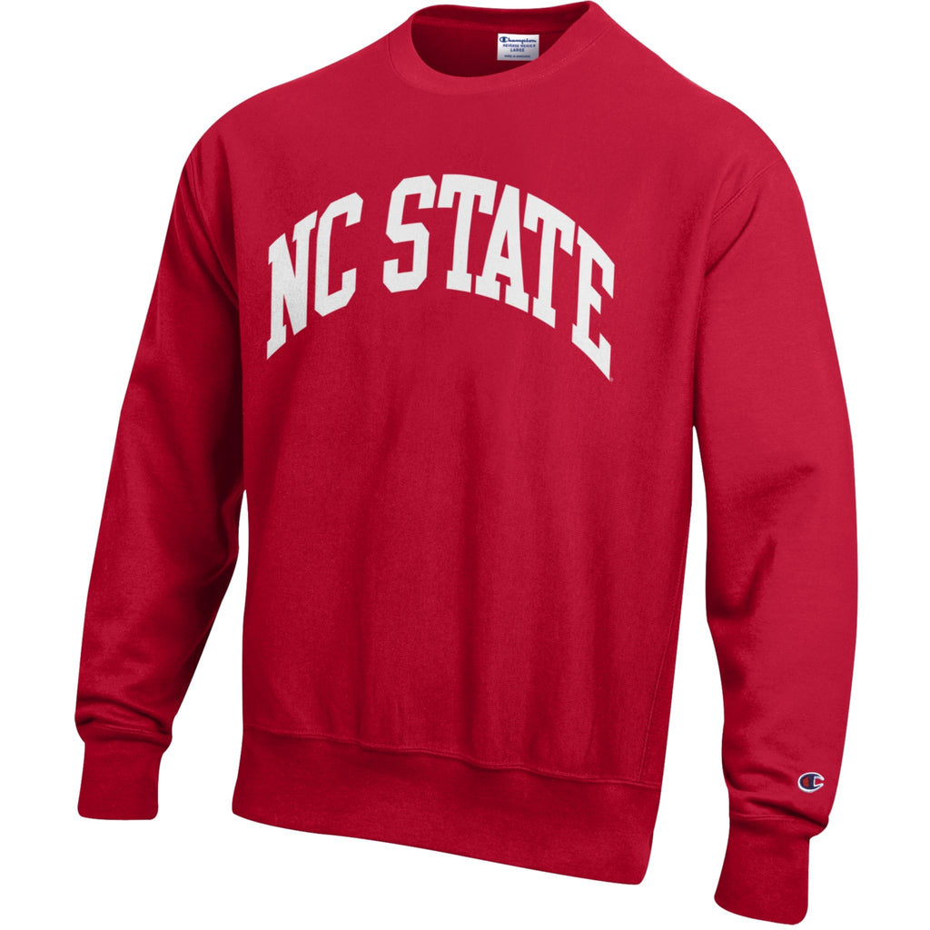NC State Wolfpack Champion Red Embroidered Reverse Weave Arch Crewneck Sweatshirt