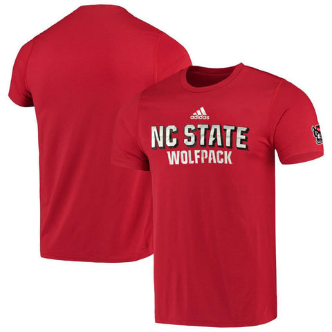 NC State Wolfpack Adidas Red Football Sideline Chromed Up Climalite T-Shirt