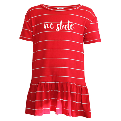NC State Wolfpack Youth Girl's Red PIKO Daisy Peplum T-Shirt