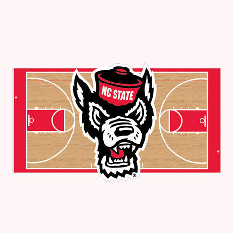 NC State Wolfpack Wolf Head Basketball Court Decal