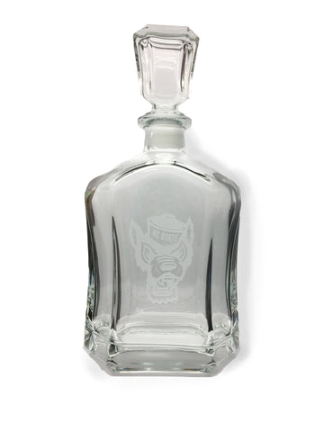 NC State Wolfpack Etched Wolfhead Whiskey Decanter