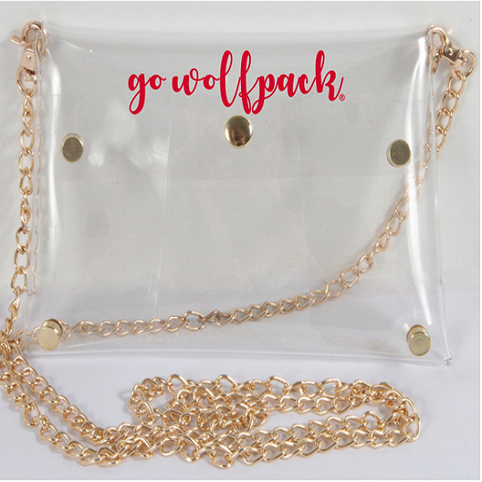 NC State Wolfpack Clear Purse with Gold Chain Strap