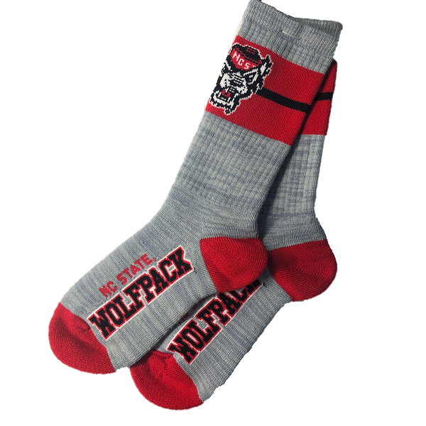 NC State Wolfpack Red and Grey Wolfhead Deuce Band Socks