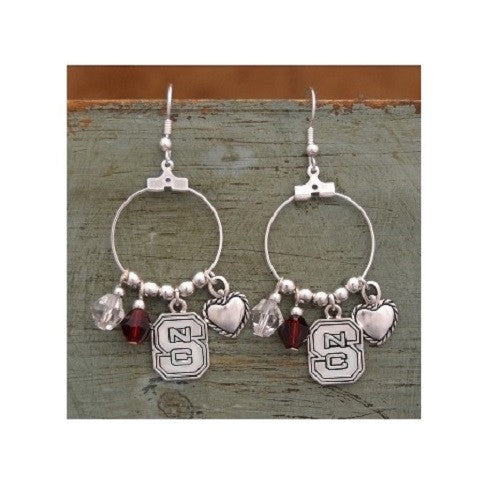 NC State Wolfpack Block S with Charms Earrings