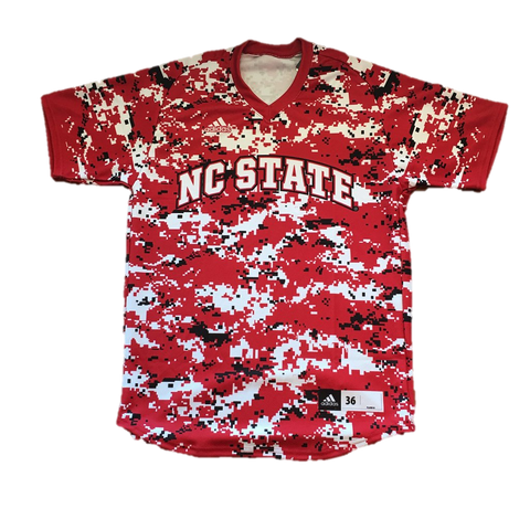 NC State Wolfpack Adidas Red Camo Authentic Baseball Jersey