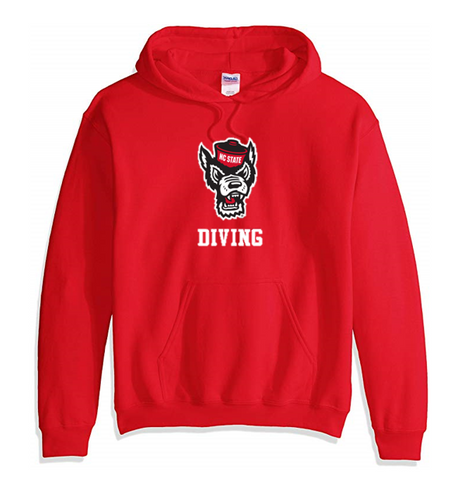 NC State Wolfpack Red Wolfhead Diving Hooded Sweatshirt
