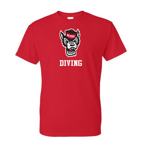 NC State Wolfpack Youth Red Wolfhead Diving T-Shirt