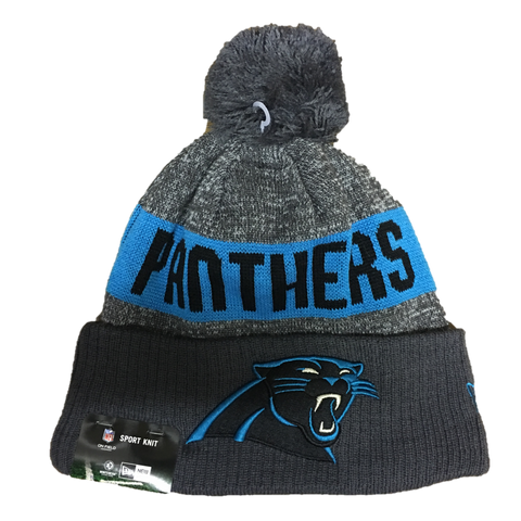 2016 Double Grey Carolina Panthers On Field  Pom Beanie