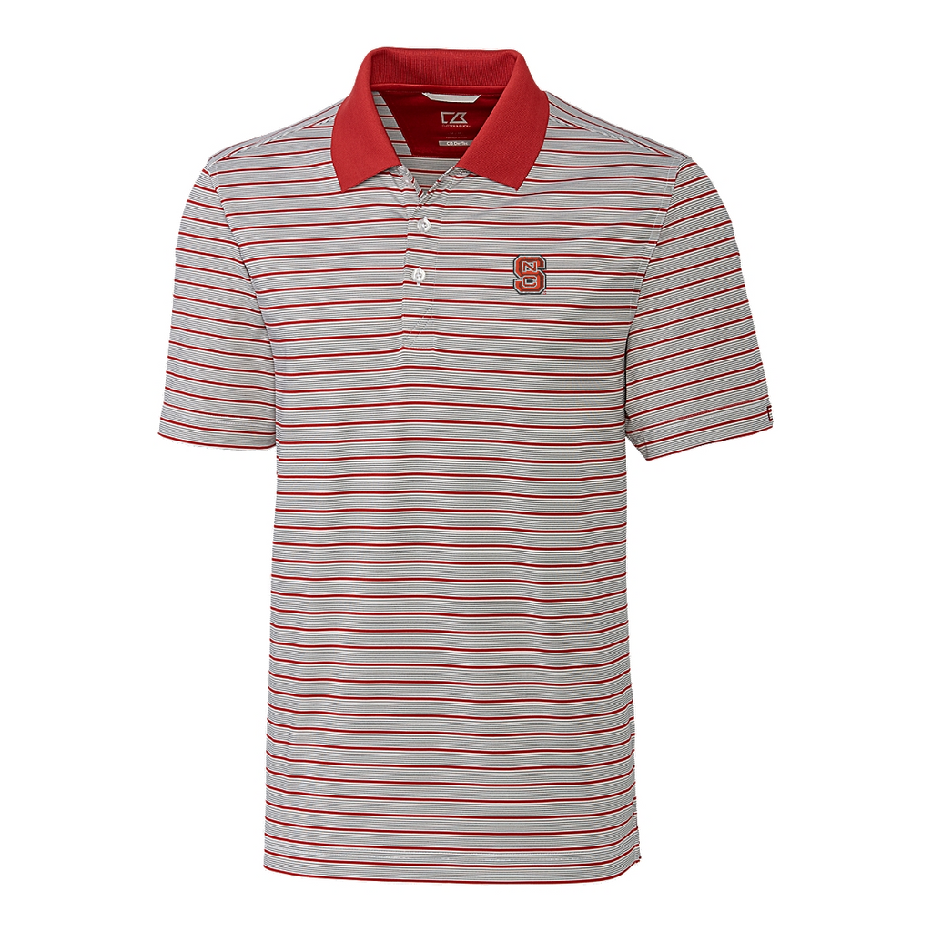 NC State Wolfpack Cutter & Buck Striped Surge Polo