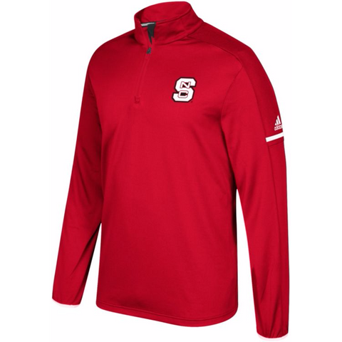 NC State Wolfpack Adidas Red 2017 Sideline Coaches 1/4 Zip Long Sleeve Jacket