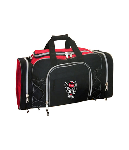 NC State Wolfpack Red and Black Wolfhead Action Duffel