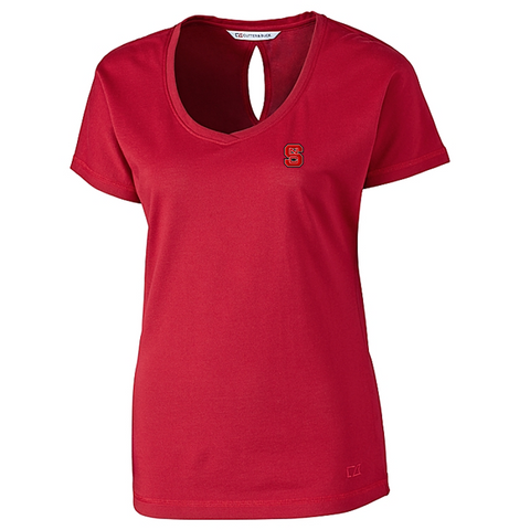 NC State Wolfpack Cutter & Buck Women's Red Dynamic Keyhole V-Neck