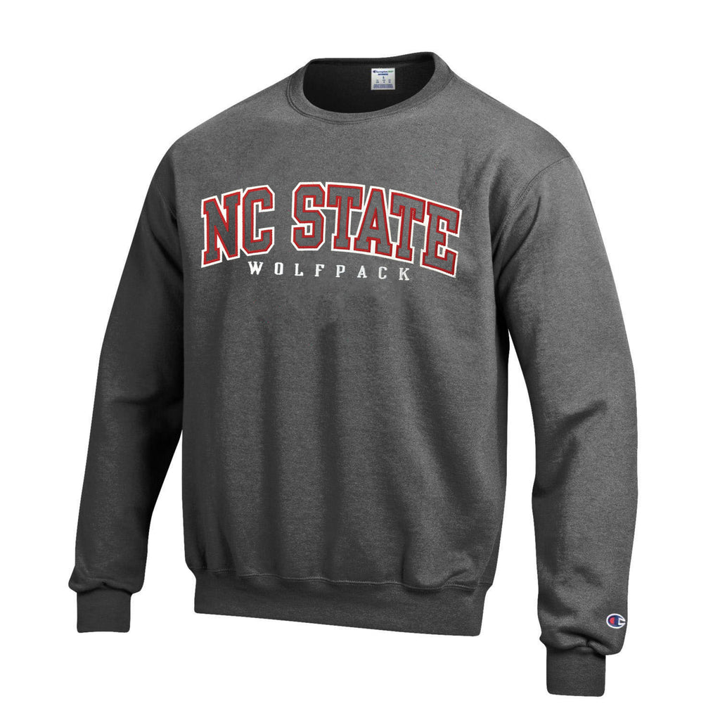 NC State Wolfpack Champion Granite Heather Powerblend Arched Embroidered NC State Crewneck Sweatshirt