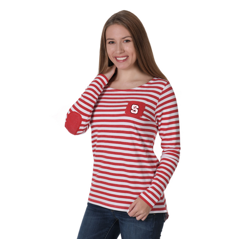 NC State Wolfpack Women's Red and White Striped Elbow Patch Fleece Shirt