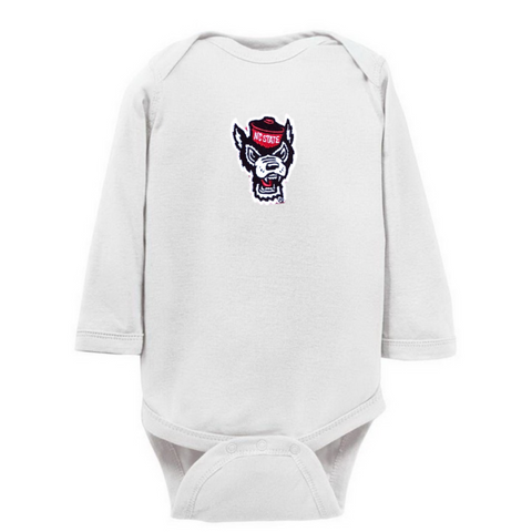 NC State Wolfpack Infant White Wolfhead Onesie
