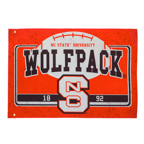 "NC State Wolfpack 52""x36"" Linen Estate Football Oversized Flag"