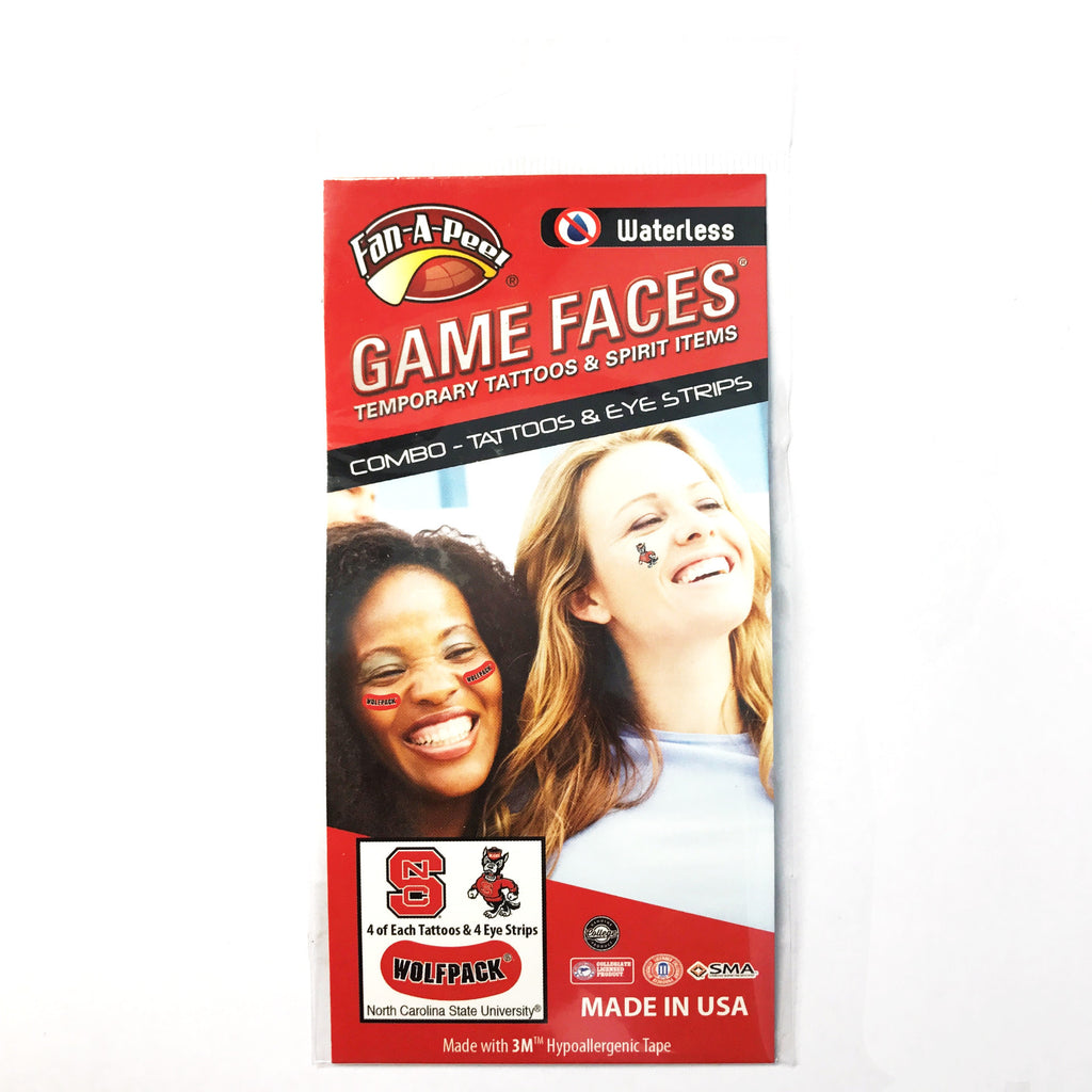 NC State Wolfpack Combo Pack Tattoos and Red Eye Strips