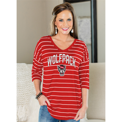 NC State Wolfpack Women's Red w/ White Stripe Fall In Line V-Neck 1/2 Sleeve Top