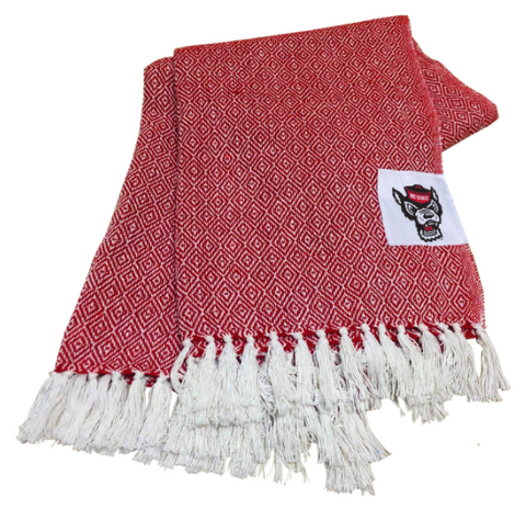 NC State Wolfpack Red and White Wolfhead Farmhouse Throw