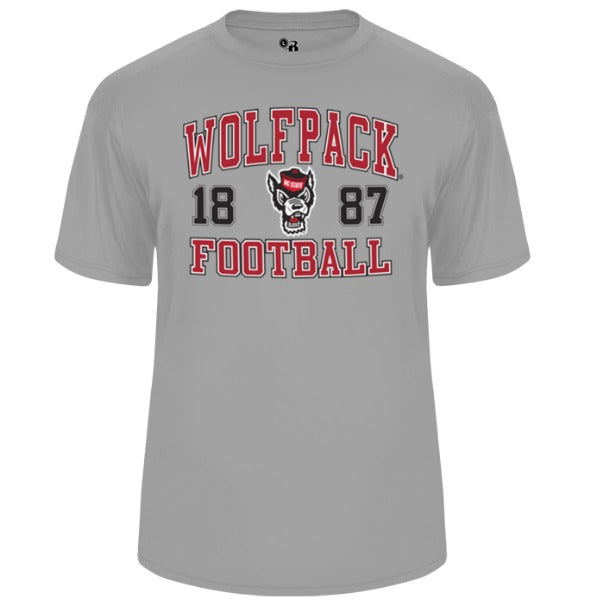 NC State Wolfpack Grey Football Ultimate Softlock Performance T-Shirt