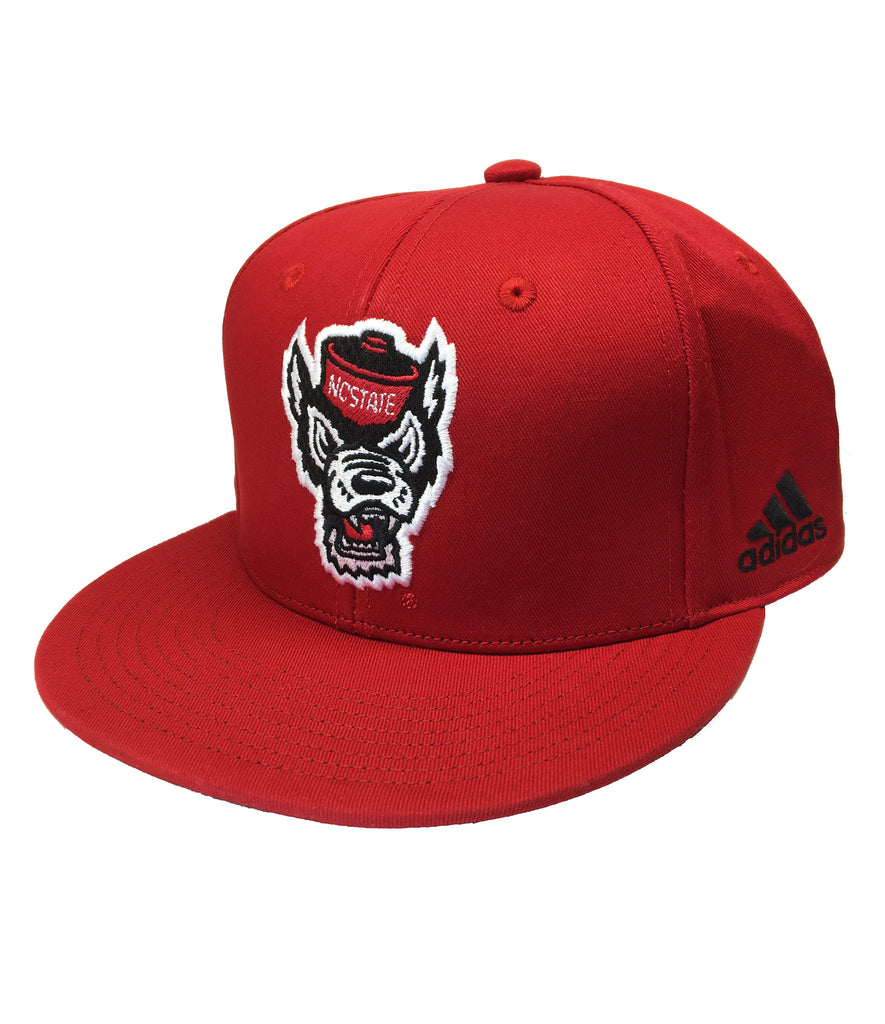 NC State Wolfpack Adidas Red Wolfhead Flat Bill Snapback Hat