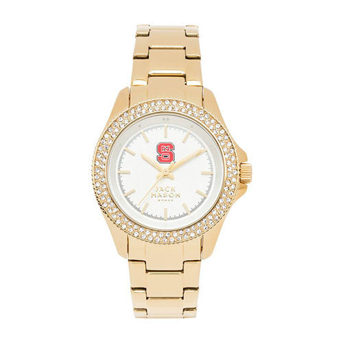 NC State Wolfpack Women's Gold Tone Glitz Sport Watch