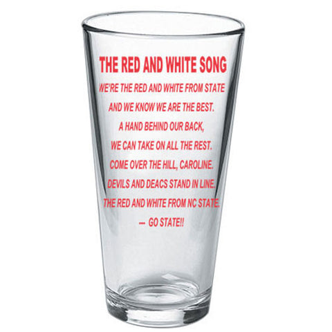 NC State Wolfpack Fight Song 16oz Pint Glass