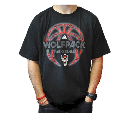 NC State Wolfpack Adidas Black Fired Up Basketball T-Shirt